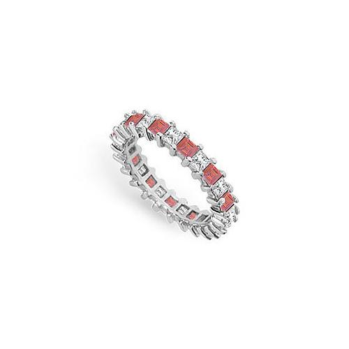 Diamond and Ruby Eternity Band : 18K White Gold – 3.00 CT TGW