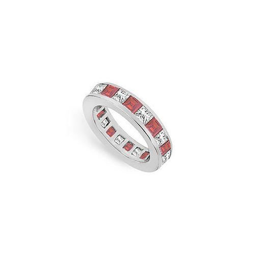 Diamond and Ruby Eternity Band : 18K White Gold – 4.00 CT TGW