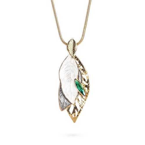 Pristine Leaf Necklace with Green Drop