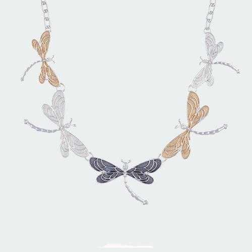 Breezy Dragonflies Necklace - Silver