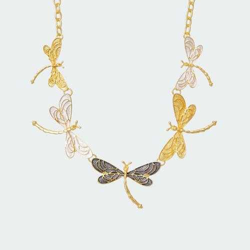 Breezy Dragonflies Necklace - Gold