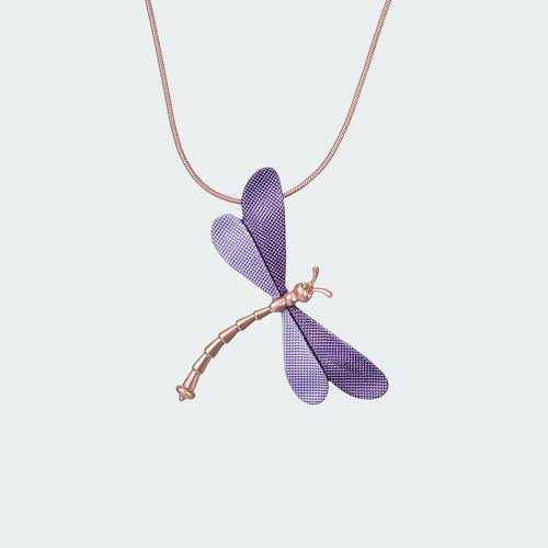 Forest Dragonfly Necklace - Lilac