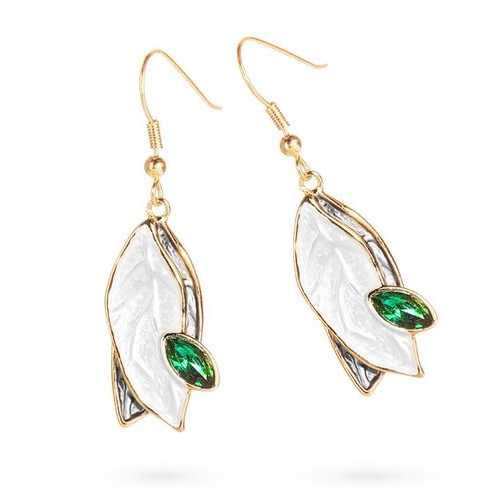 Pristine Leaf Earrings with Green Drop