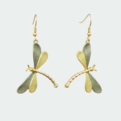 Forest Dragonfly Earrings - Lime