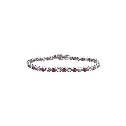 Ruby and Diamond Tennis Bracelet : 14K White Gold - 5.00 CT TGW