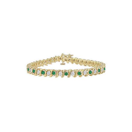 Emerald and Diamond Tennis Bracelet : 14K Yellow Gold - 1.00 CT TGW