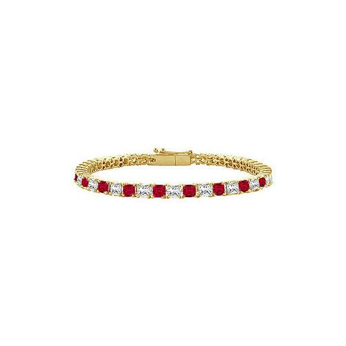 Ruby and Diamond Tennis Bracelet : 14K Yellow Gold - 2.00 CT TGW