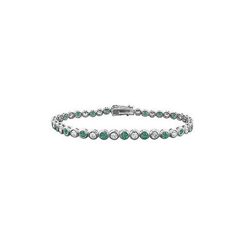 Emerald and Diamond Tennis Bracelet : 18K White Gold - 5.00 CT TGW