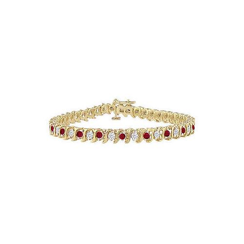Ruby and Diamond Tennis Bracelet : 18K Yellow Gold - 3.00 CT TGW