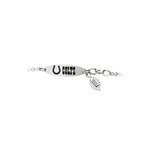 Stainless Steel Indianapolis Colts Team Name and Logo Dangle Bracelet - 7.5 Inch