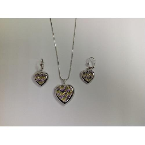 Heart Multicolor Round CZ Necklace and Earring Set Rhodium Plated in Gift Box
