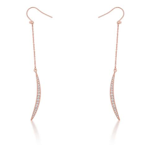 Luna 0.5ct CZ Rose Gold Delicate Moon Drop Earrings