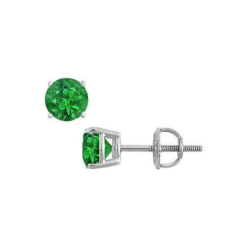 14K White Gold : Prong Set Emerald Stud Earrings 0.25 CT TGW