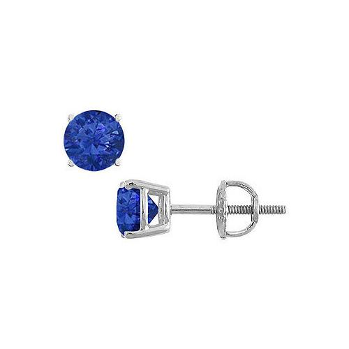 14K White Gold : Prong Set Blue Sapphire Stud Earrings 0.50 CT TGW