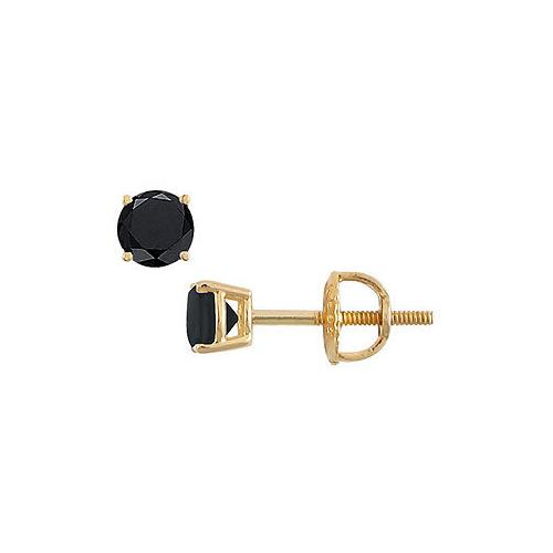 14K Yellow Gold : Round Black Diamond Stud Earrings – 0.50 CT. TW.