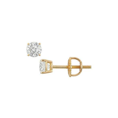 18K Yellow Gold : Round Diamond Stud Earrings – 0.25 CT. TW.