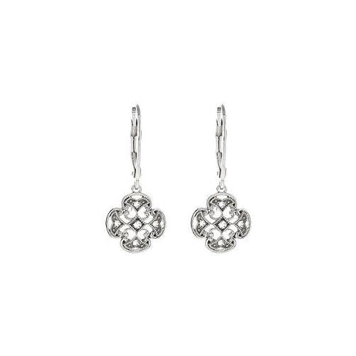 Sterling Silver Pair 0.07 CT TW Diamond Lever back Earrings