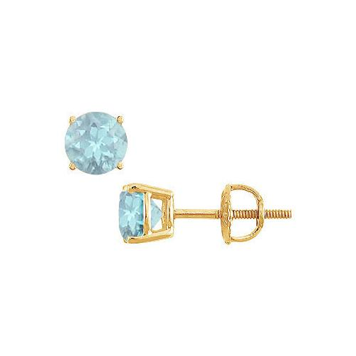 Aquamarine Stud Earrings : 14K Yellow Gold - 2.00 CT TGW