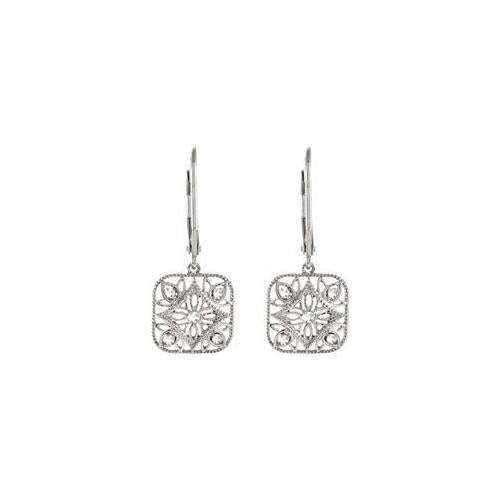 Sterling Silver Pair 1/10 CT TW Diamond Lever back Earrings