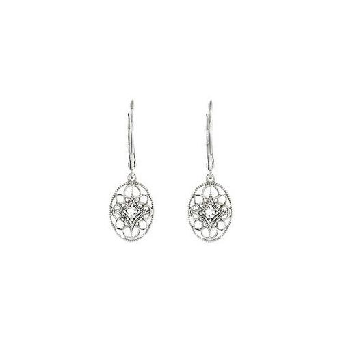 Sterling Silver Pair 0.06 CT TW Diamond Lever back Earrings