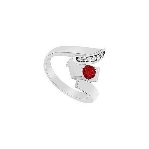 Ruby Zig-Zag Ring : 14K White Gold - 0.33 CT TGW