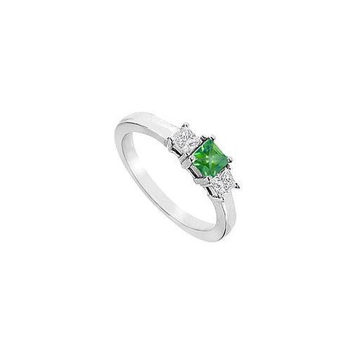 Three Stone Emerald Diamond Engagement Ring : 14K White Gold - 1.00 CT TGW