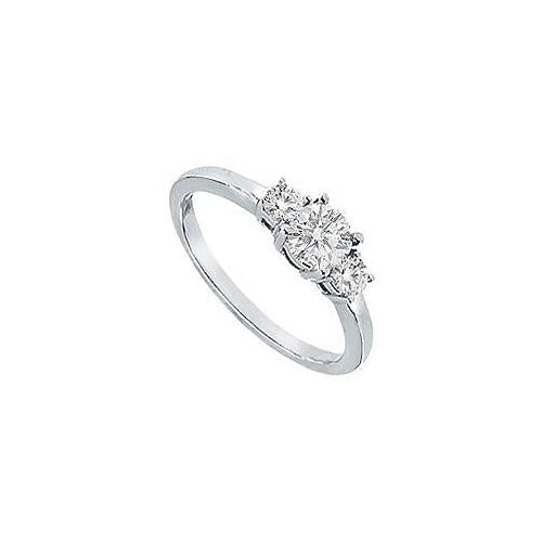 Three Stone Diamond Engagement Ring : Platinum - 0.75 CT Diamonds