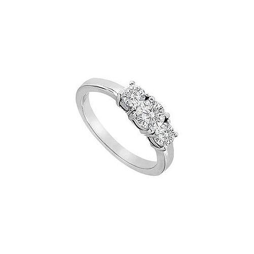 Three Stone Diamond Engagement Ring : 14K White Gold - 1.00 CT Diamonds