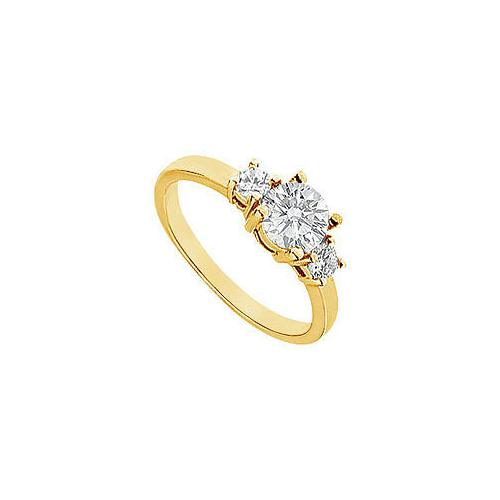 Three Stone Diamond Engagement Ring : 14K Yellow Gold - 1.00 CT Diamonds