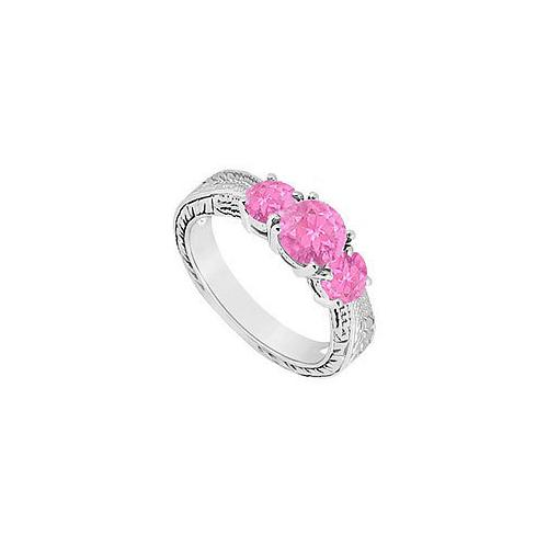 Pink Sapphire Three Stone Ring : 14K White Gold - 0.75 CT TGW