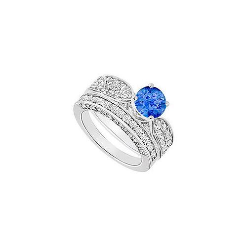 14K White Gold : Sapphire and Diamond Engagement Ring with Wedding Band Set 2.15 CT TGW