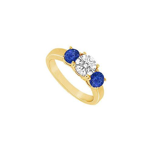 Three Stone Sapphire and Diamond Ring : 14K Yellow Gold - 1.00 CT TGW