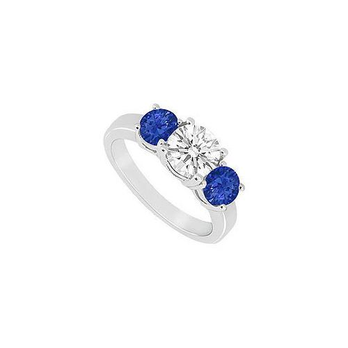Three Stone Sapphire and Diamond Ring : 14K White Gold - 1.50 CT TGW