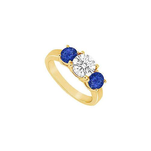 Three Stone Sapphire and Diamond Ring : 14K Yellow Gold - 1.50 CT TGW