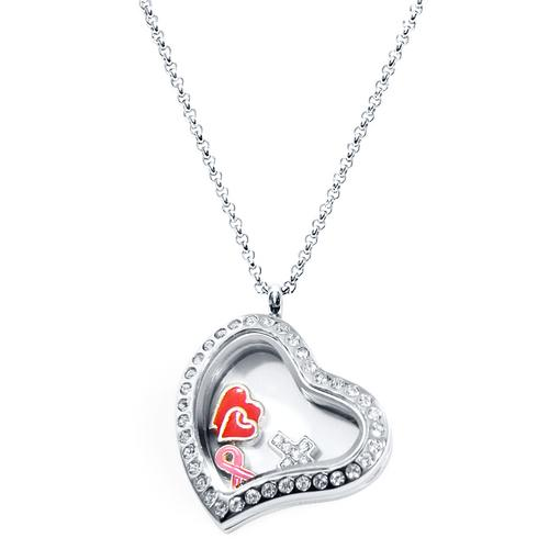 Inspire Heart Floating Locket ringed with stones