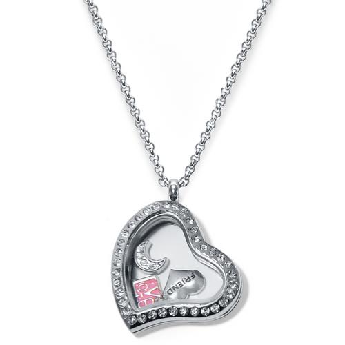 Always Heart Floating Locket ringed with stones