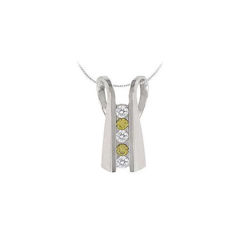 Yellow Sapphire and Diamond Pendant : 14K White Gold - 1.00 CT TGW
