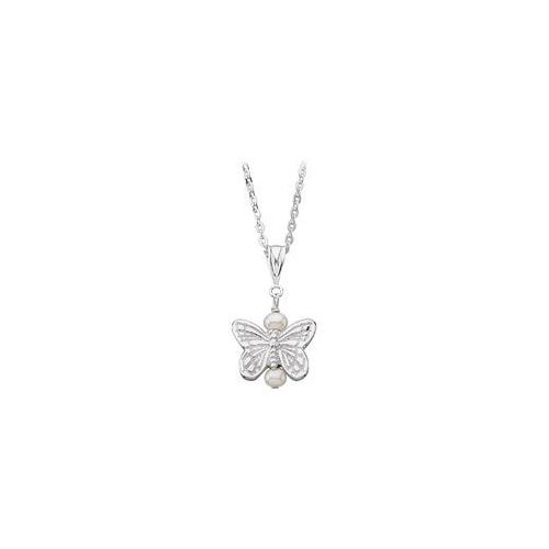 Youth Butterfly and Pearl Pendant : .925 Sterling Silver - 12.38 X 13.50 MM