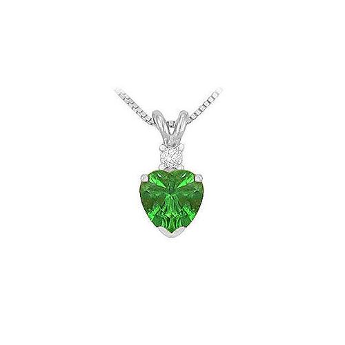 Synthetic Heart Shaped Emerald Solitaire Pendant : .925 Sterling Silver - 1.00 CT TGW