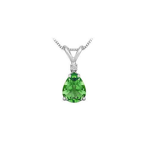 Synthetic Pear Shaped Emerald Solitaire Pendant : .925 Sterling Silver - 1.00 CT TGW