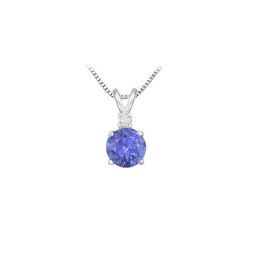 Synthetic Tanzanite Solitaire Pendant : .925 Sterling Silver - 1.00 CT TGW