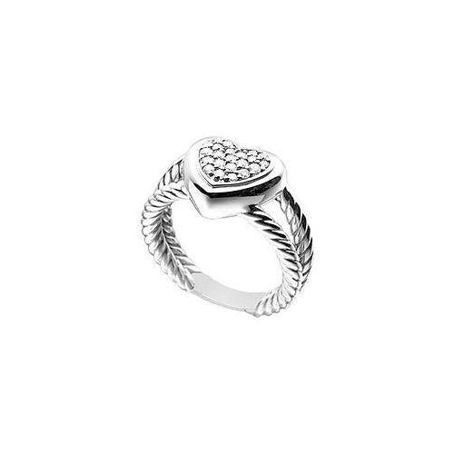 Diamond Heart Rope Ring : 14K White Gold - 0.25 CT Diamonds
