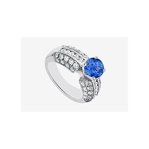 Sapphire and Cubic Zirconia Engagement Ring in 14K White Gold 2.30 Carat TGW