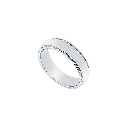 Platinum 5MM Comfort Fit Milgrain Wedding Band