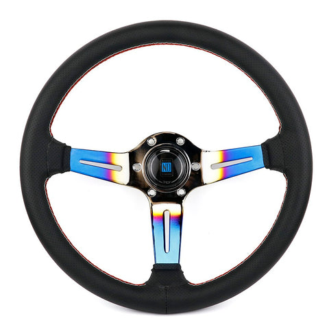 perforated leather steering wheel,nd steering wheel,titanium steering wheel,leather steering wheel,deep dish steering wheel,racing steering wheel,aftermarket steering wheel,jdm steering wheel,momo racing wheel,race car steering wheel,cheap steering wheel