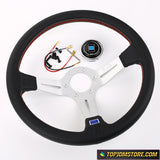 Silver 14inch Italy ND Lightweight Aluminum Steering Wheel Drift Sport Real Leather