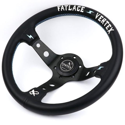Vertex Fatlace White Embroidery Aftermarket Leather Steering Wheel Blue Stitch - Top JDM Store