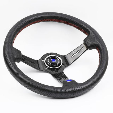 ND Perforated Leather Carbon Fiber Frame Steering Wheel - Top JDM Store
