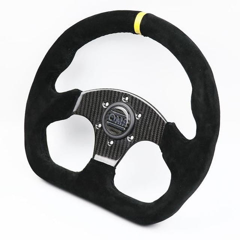 OMP Real Carbon Fiber Flat Suede Rally Sport Steering Wheel - Top JDM Store