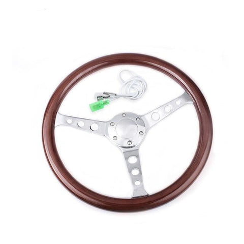 Genuine Wood Grain Steering Wheel Drilled 15inch 380mm - Top JDM Store